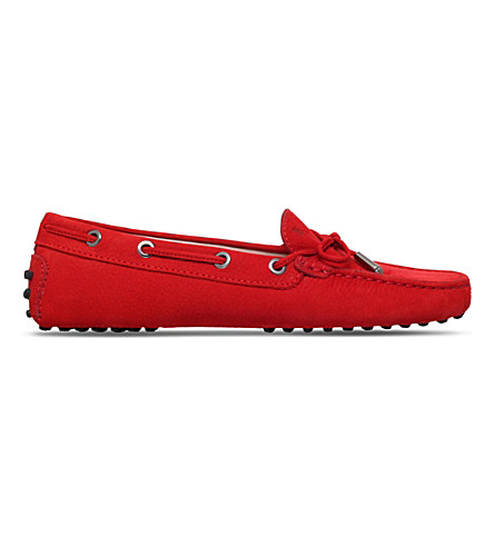Tod's Gom Heaven Nubuck Driving Shoes In Red/other