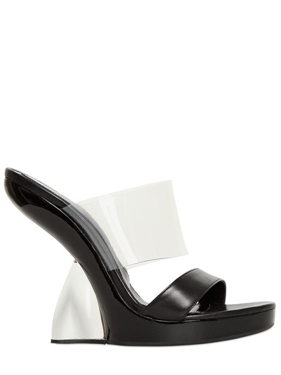 Alexander Mcqueen Translucent & Leather Lucite-Heel Sandals In Black