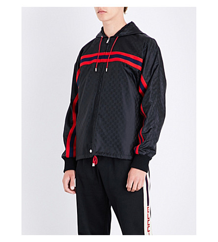 567d563d6 Gucci Jacket Nylon Bomber Jacket With Monogram Pattern And Web Bands In  Black