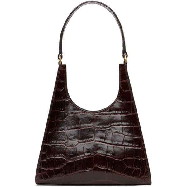 Staud Women's Rey Croc-embossed Leather Shoulder Bag In Brown