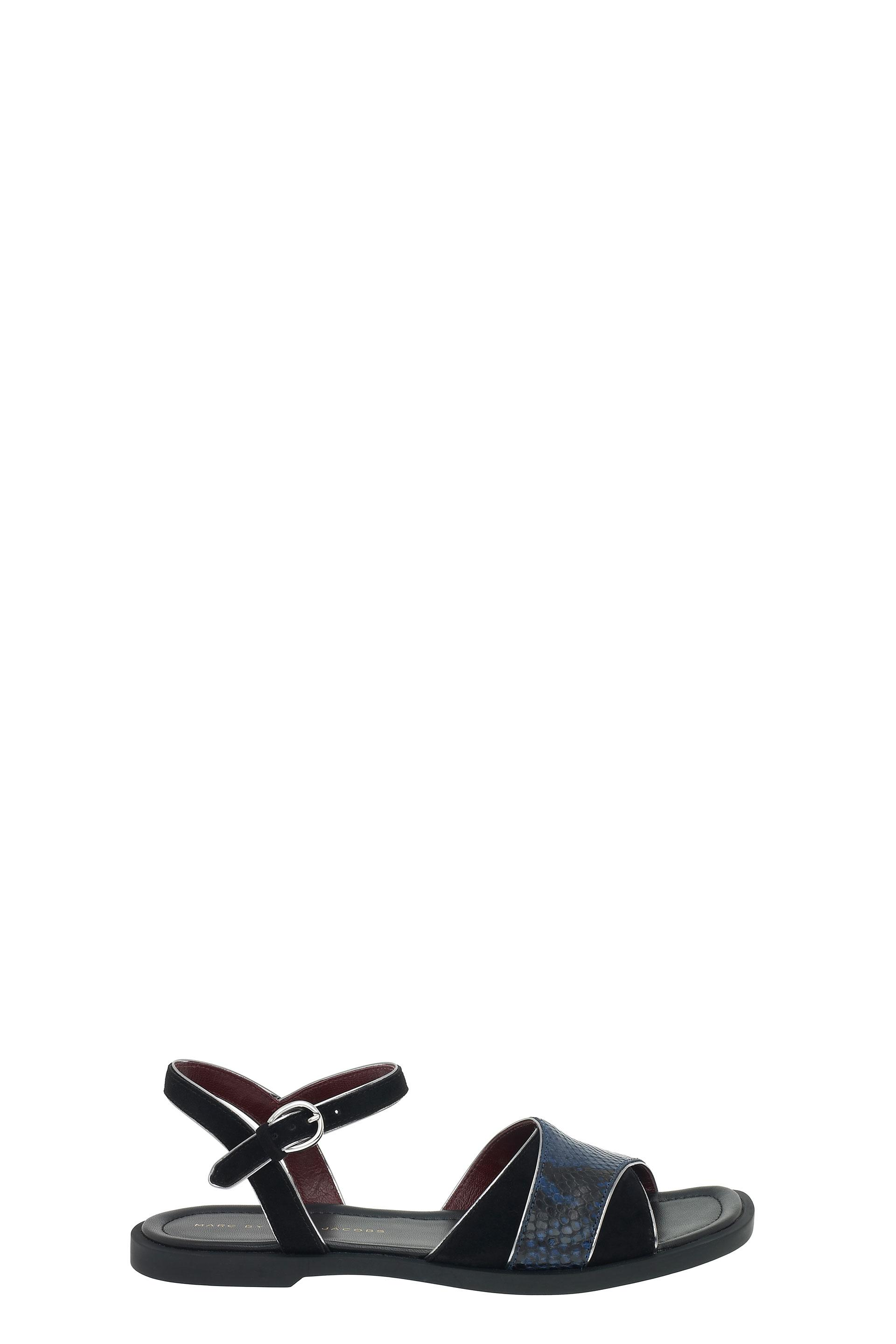 Marc By Marc Jacobs Embossed Ankle Strap Flat Sandals In Navy