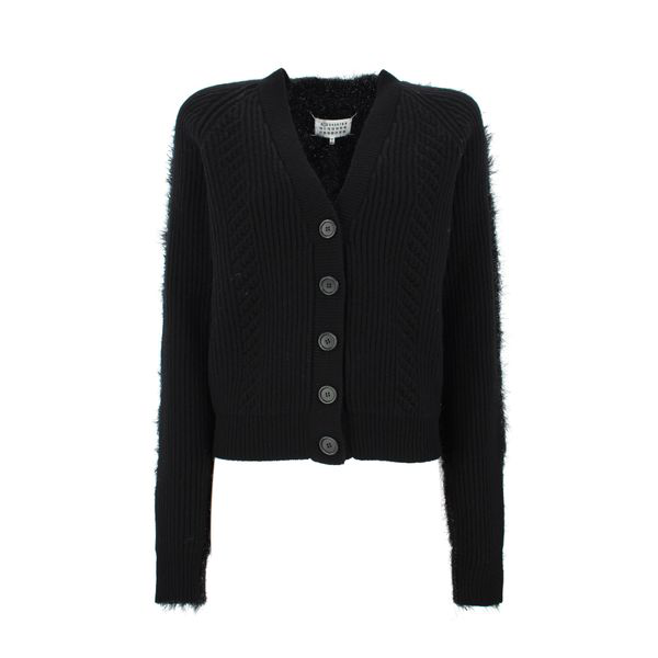 Maison Margiela Metallic-thread Cardigan In Black