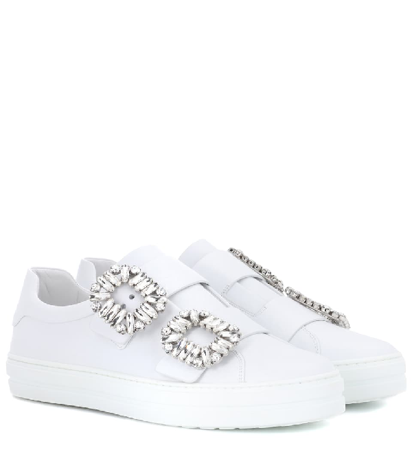 Roger Vivier 20Mm Sneaky Viv Buckles Leather Sneakers In White