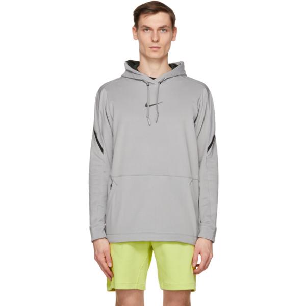 Nike Grey & Black Pro Pullover Hoodie In 073 Gry/blk