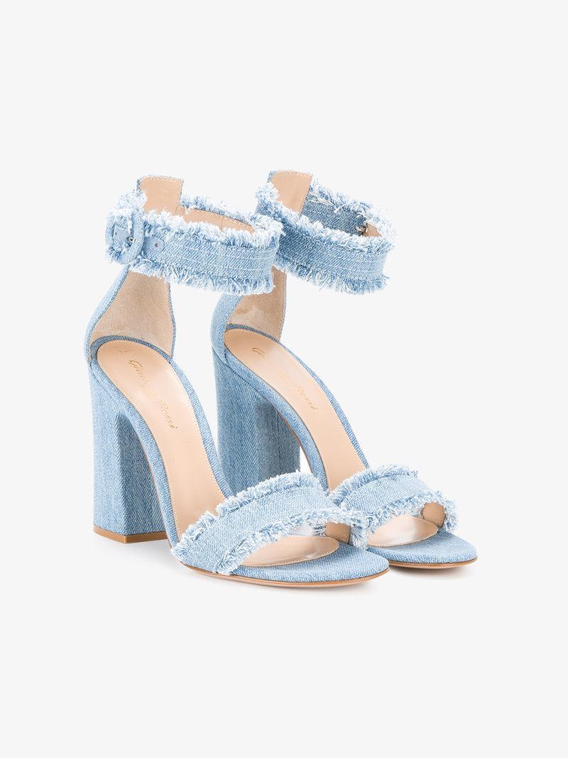 Gianvito Rossi Frayed Denim Kiki 105 Sandals In Blue