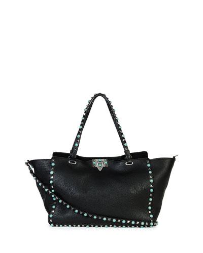 Valentino Rockstud Medium Turquoise Studs Tote Bag, Black, Nero/al Campione