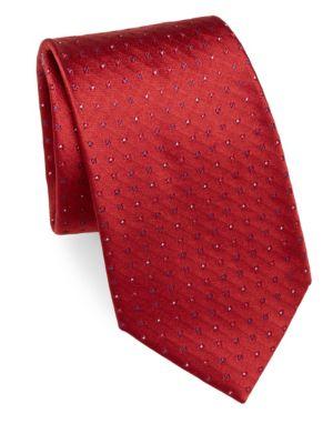 Brioni Textured Silk Tie In Red Blue