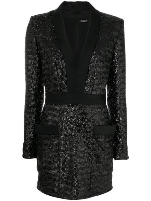 Balmain Satin-Lapel Sequin-Embellished Mini Dress In Black