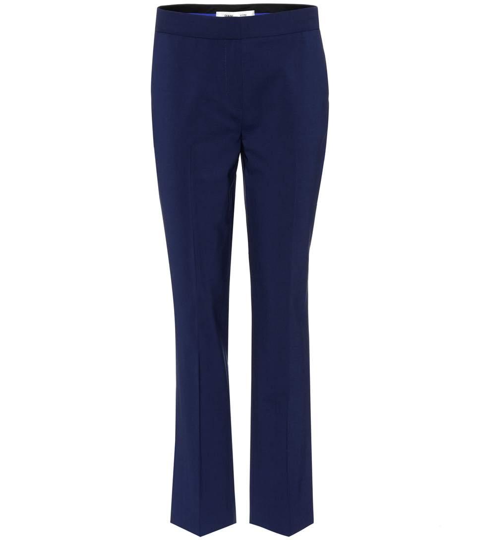 Diane Von Furstenberg Wool Trousers In Blue