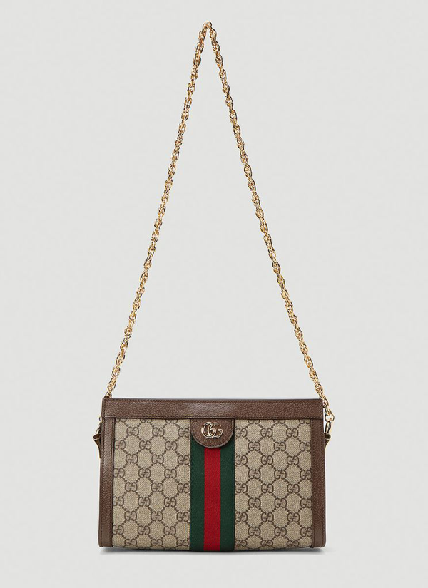 Gucci Ophidia Gg Print Small Shoulder Bag In Brown In Beige