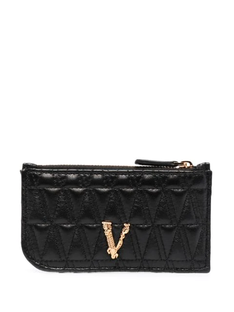 Versace Quilted Leather Card Holder In Black