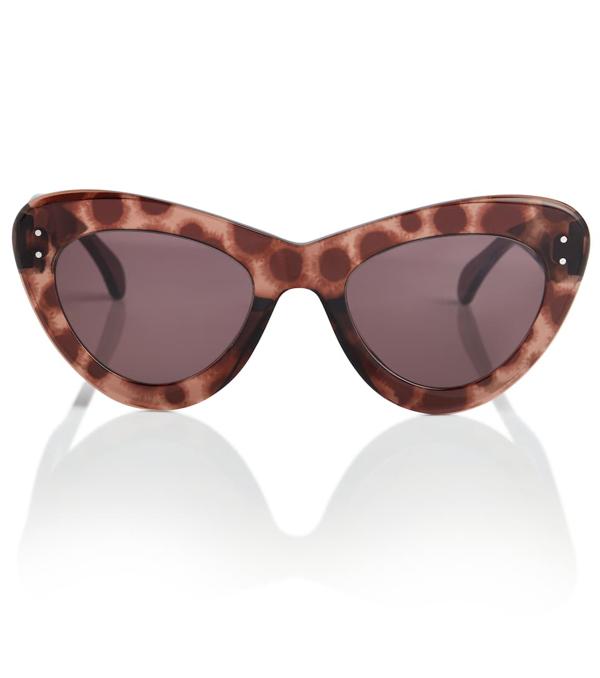 Alaïa Cat-eye Acetate Sunglasses In Brown/ Brown
