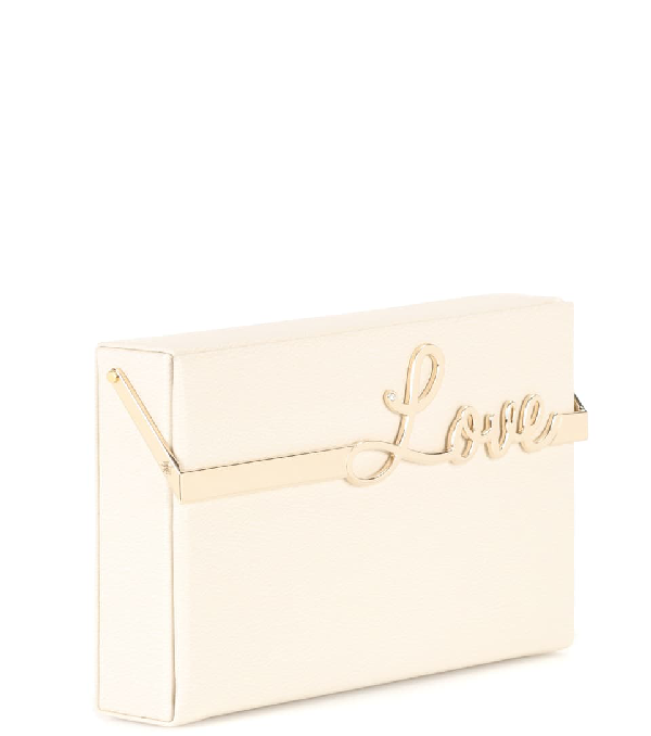 Charlotte Olympia Love Vanina Leather Clutch Box In Off White