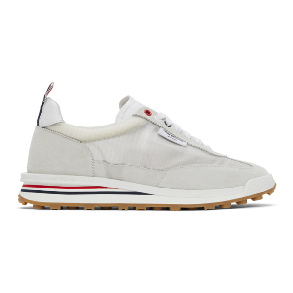Thom Browne Tech Runner Ripstop And Suede Trainers In 100 White
