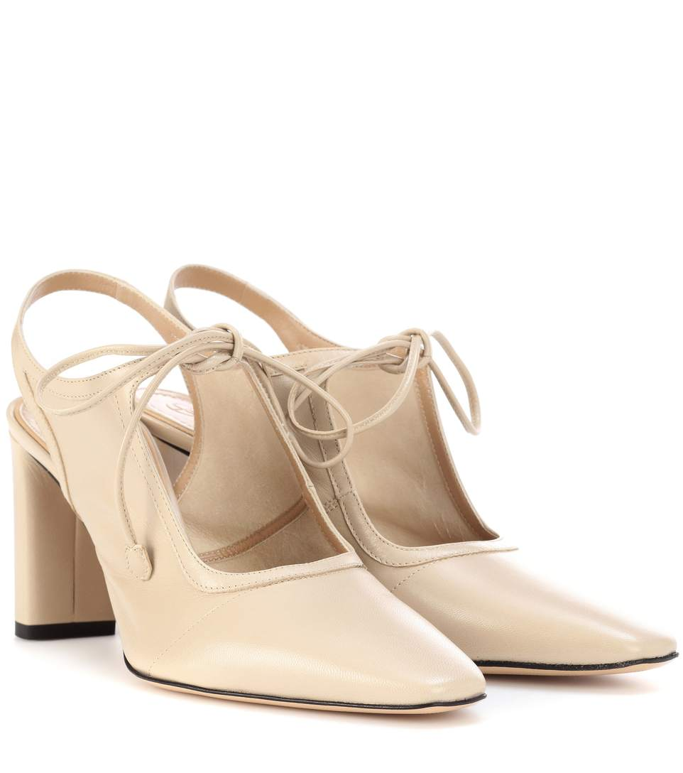 e2920b91b5 The Row Camil Leather Slingback Pumps In Beige | ModeSens