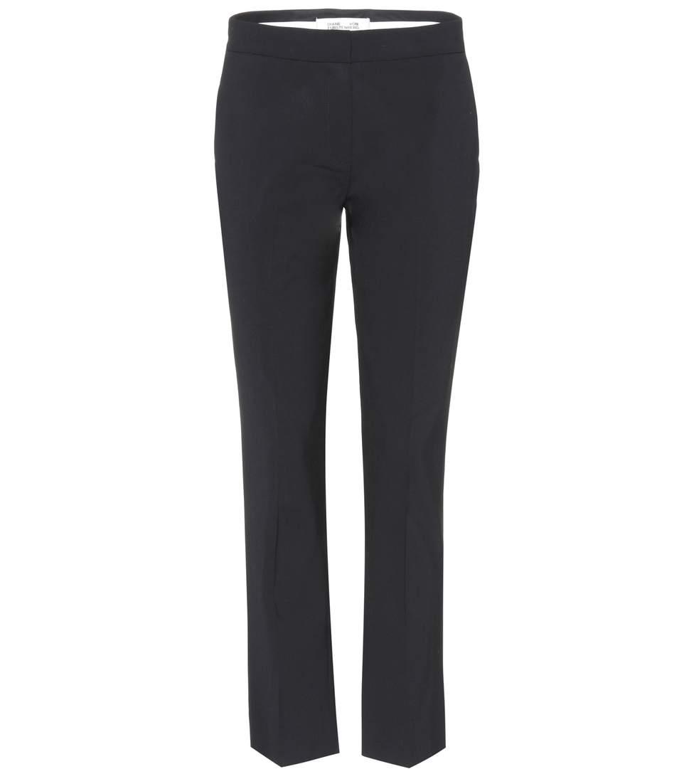 Diane Von Furstenberg Wool Blend Trousers In Black