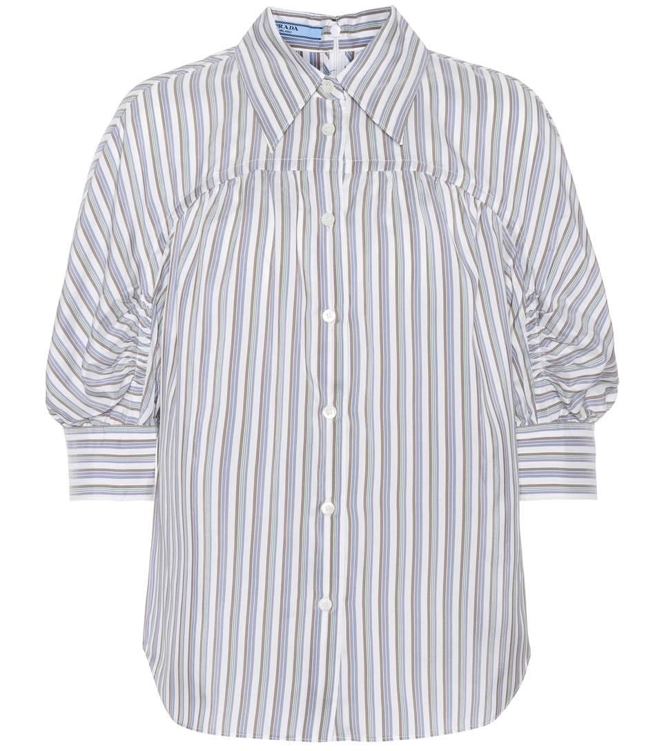 ce007da064935 Prada Striped Silk Tieneck Blouse In White