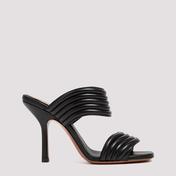 Alaïa Black Leather Mule Sandals