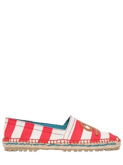 Dsquared2 Striped Cotton Canvas Espadrille In White/Red