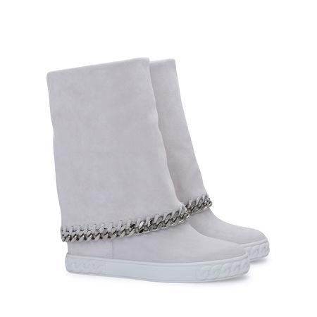 Casadei 90Mm Suede Chained Wedge Boots, White