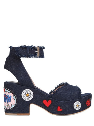 Laurence Dacade 95mm Patches Denim Sandals In Blue