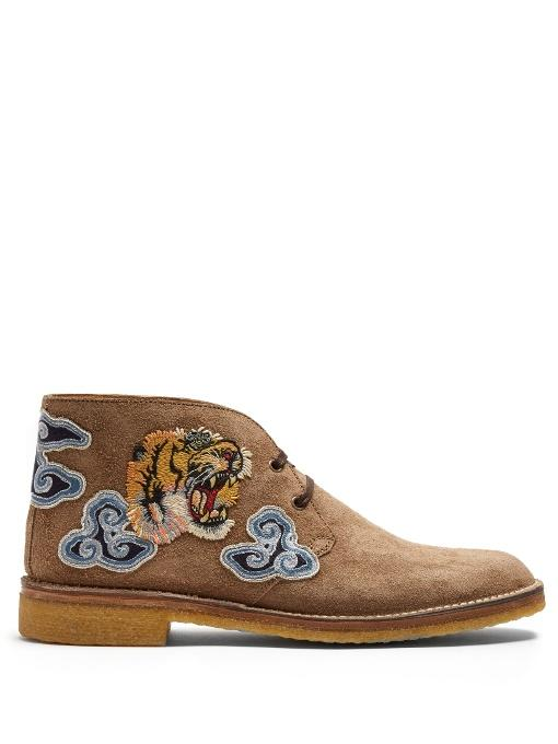8f6a126e1 Gucci New Moreau Embroidered Suede Desert Boots In Camel | ModeSens
