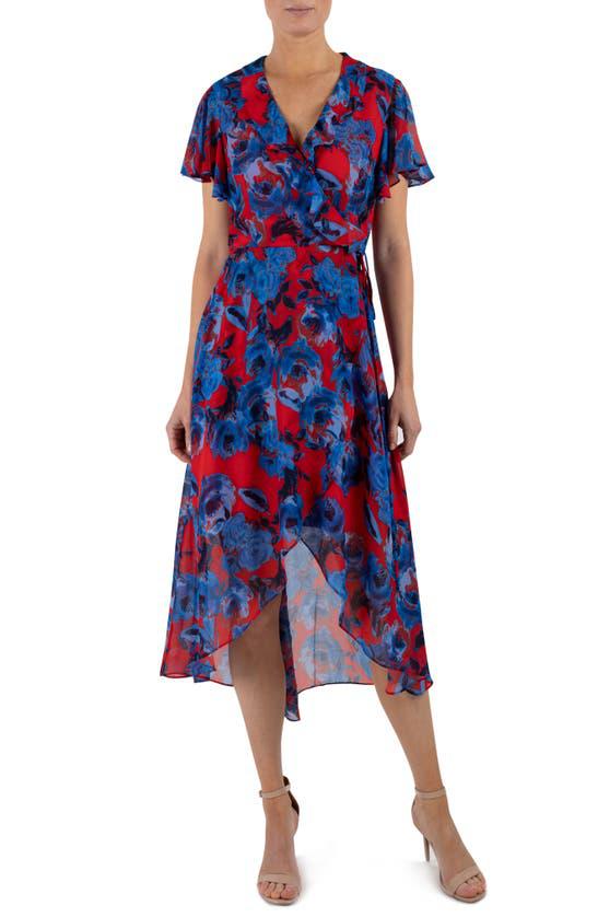 Julia Jordan Ruffle V-neck Wrap Dress In Red Multi