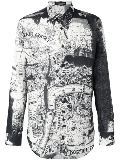 Alexander Mcqueen London Map Print Cotton Silk Twill Shirt In Black