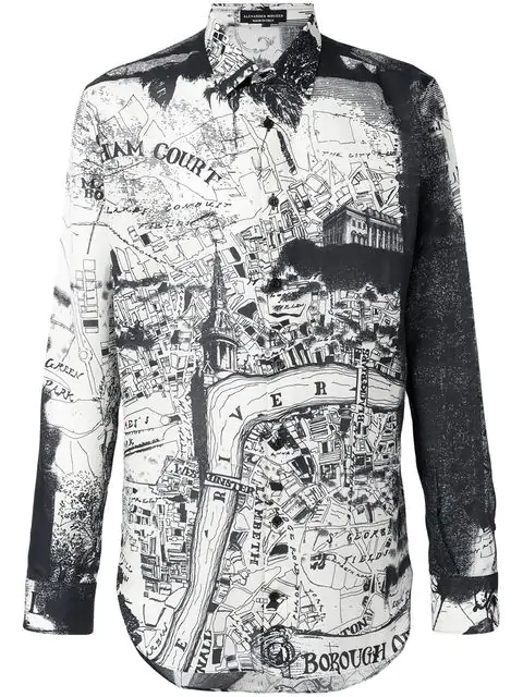 Alexander Mcqueen London Map Print Cotton Silk Twill Shirt In 9080 White Black
