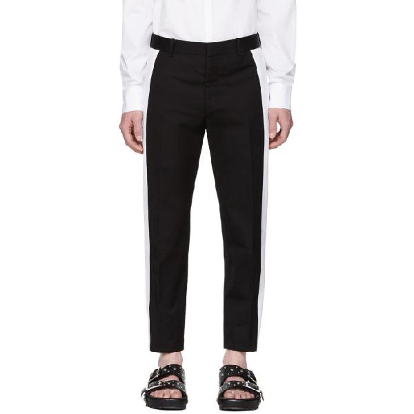 Alexander Mcqueen Black Striped Skinny Trousers In 0911 Blkivr
