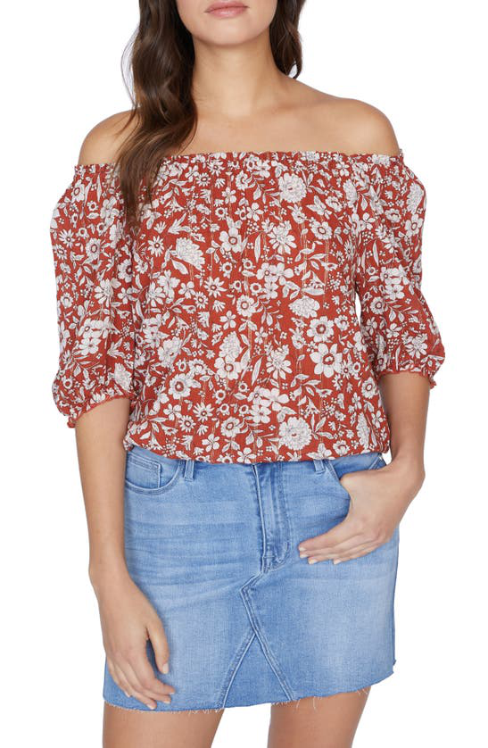 Sanctuary Malibu Floral Off The Shoulder Top In Summer Fields