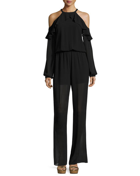 95f947d44 Michael Michael Kors Cold-Shoulder Ruffle-Trimmed Chiffon Jumpsuit In Black