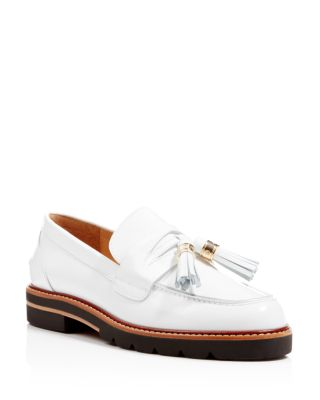 Stuart Weitzman Manila Tassel Oxfords In Bianco