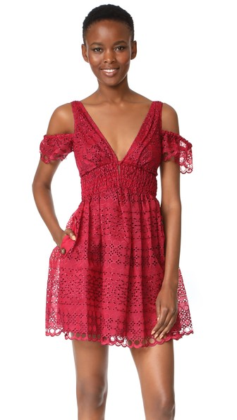 e86eb1236d0b Self-Portrait Self Portrait Sheared Mini Dress In Raspberry Red ...