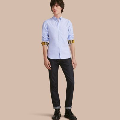 4f892f83de74 Burberry Button-Down Collar Cotton Oxford Shirt With Check Detail In Cornflower  Blue