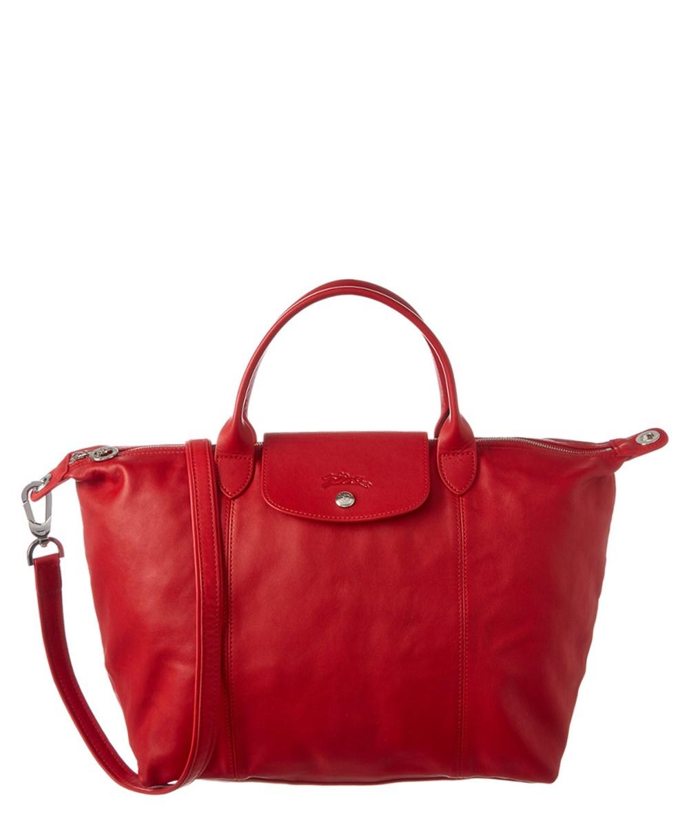 ae8b2f79de7 Longchamp Le Pliage Leather Medium Top Handle Bag In Cherry | ModeSens