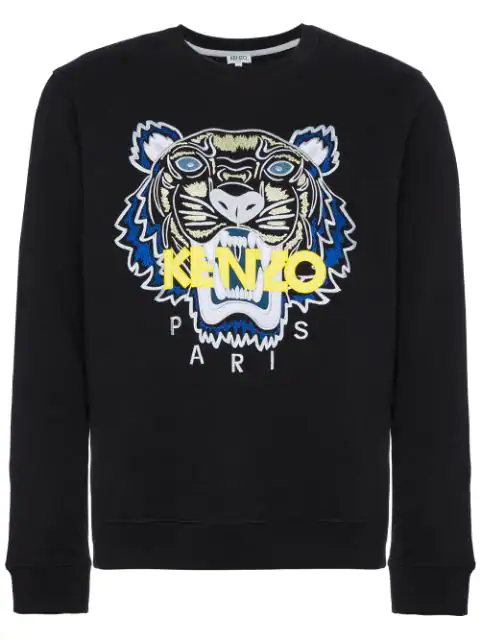 Kenzo Logo Tiger-Embroidered Stretch-Cotton Sweatshirt - Black