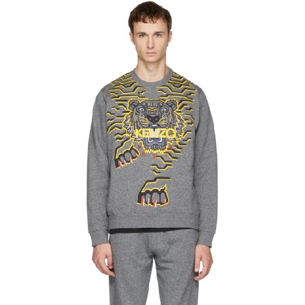 fb2deca6 Kenzo Opening Ceremony Geo Tiger Sweatshirt In 98 Anthracite   ModeSens