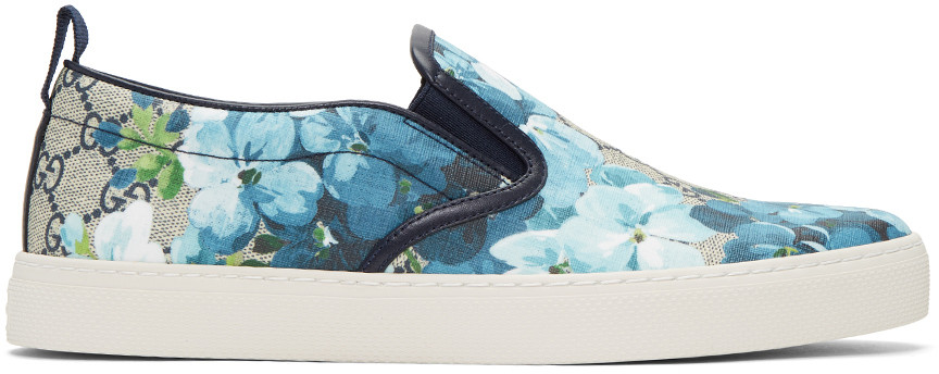 633a806faab Gucci Beige   Navy Gg Supreme Floral Slip-On Sneakers