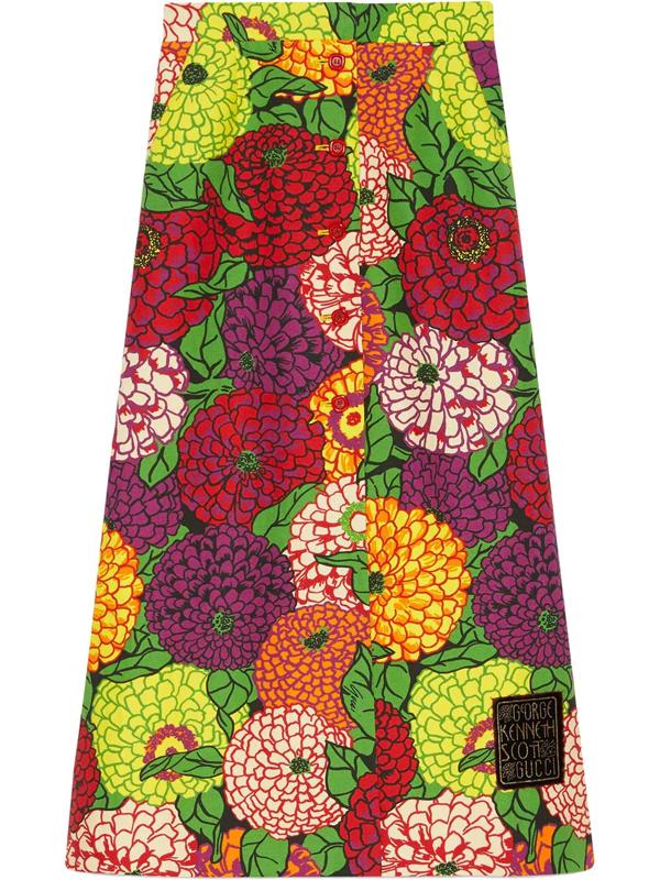 Gucci Ken Scott Print Linen Skirt In Pink
