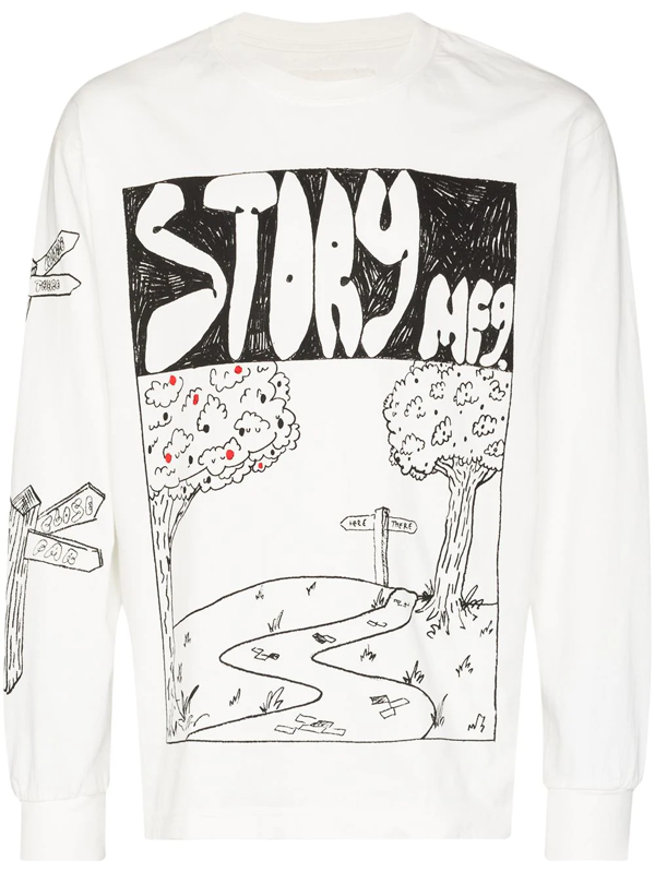 Story Mfg. White Sweet Route T-shirt