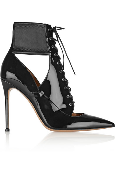 Gianvito Rossi Woman Lace-Up Cutout Stretch And Patent-Leather Ankle Boots Black