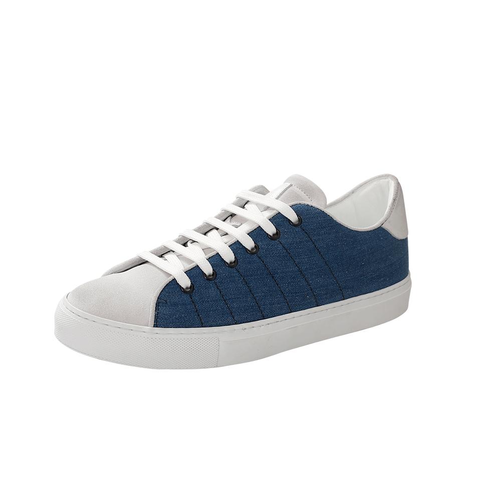 Eleventy Two Tone Lace Sneaker In Blue-Wht