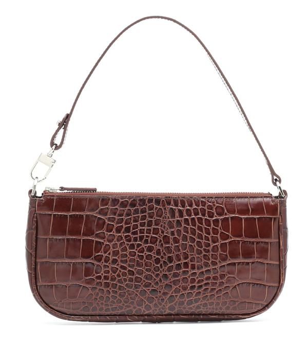 By Far Mini Rachel Crocodile-effect Leather Bag In Nutella