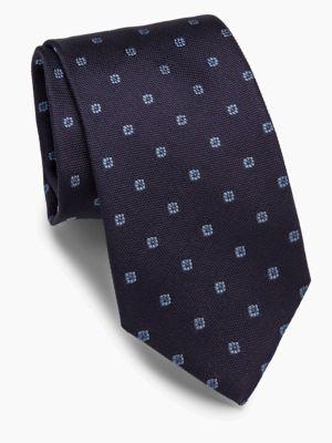 Brioni Foulard Woven Silk Tie In Navy Sky
