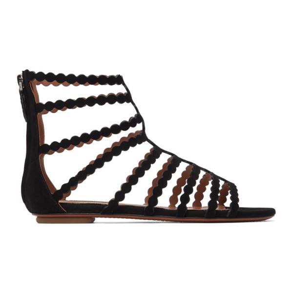 Alaïa Black Suede Cage Flat Sandals In 999 Black