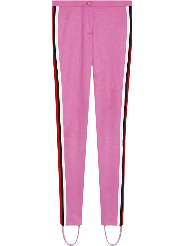 a0dbfbbe1447e8 Gucci Jersey Stirrup Leggings With Sylvie Web, Black In Pink/Purple ...