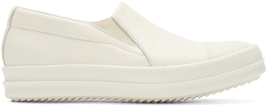 Rick Owens White Leather Boat Sneakers
