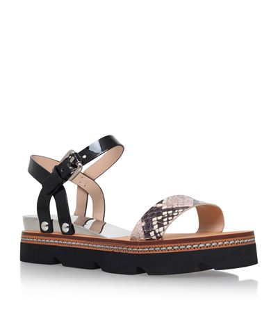 Casadei Multicolor Platform Sandals In Black And White