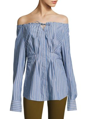 Tibi Garcon Off-The-Shoulder Striped Shirred Poplin Top, Multi Pattern